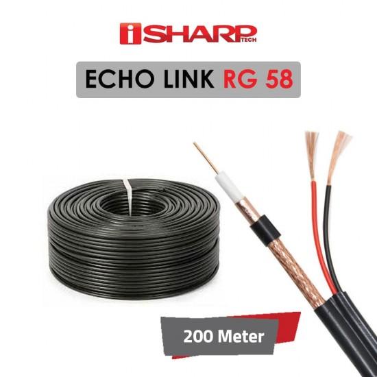 "coaxial cable أسود "" ايكو لينك "" من اي شارب، داتا وباور، مخصص لكاميرات المراقبة RG58، 200 متر، مناسب للمشاريع الصغيرة"