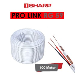 "coaxial cable أبيض "" برو لينك "" من اي شارب، داتا وباور، مخصص لكاميرات المراقبة RG59، 100 متر، مناسب للمشاريع المتوسطة"